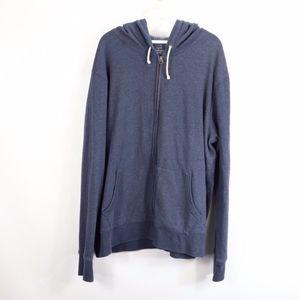 J Crew Fleece Full Zip Hoodie Sweatshirt Blue 2XL
